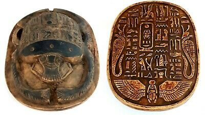 Massive Scarab Beetle Figurine Hieroglyphic Alphabets Stone Egyptian Antique
