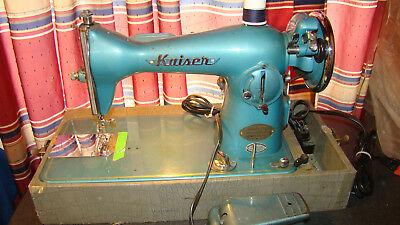 Rare TURQUOISE Kaiser Super Deluxe Precision Sewing Machine Vintage Japan