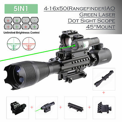 Combo Rifle Scope 4-16x50 Reticle w/ Green Laser&Red Green Dot Sight 45°Mount