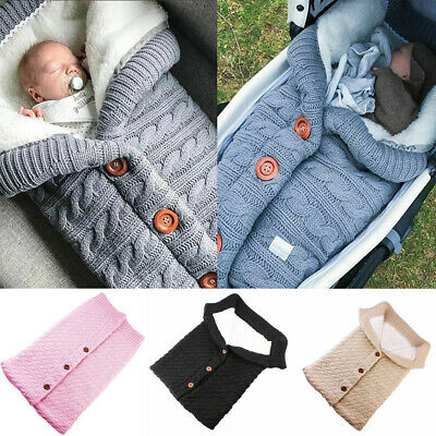 Newborn Baby Girl Boy Toddler Knit Button Blanket Crochet Swaddle Sleeping Bag