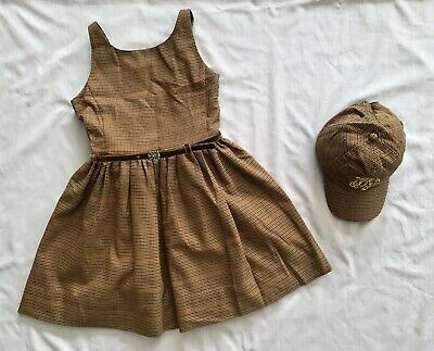 NR NEW RALPH LAUREN Kids GIRLS BROWN PLAID HAT & DRESS 2PC SET 9 - 10 yrs SZ 10