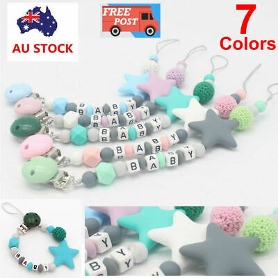 Baby Silicone Soother Dummy Clip Pacifier Teething Chain Newborn Teether Toy