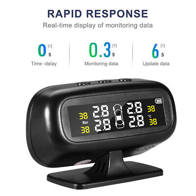 Solar Tire Pressure Temperature Monitoring System TPMS Universal +Stand Display