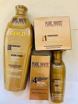 Pure White Gold Set (Lotion, Oil,Soap,Serum) - Uk Seller