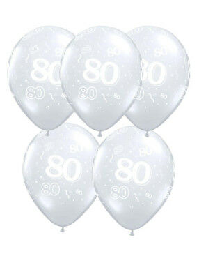 Diamond Clear 80th Birthday Party Balloons Pack 5