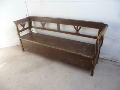 A Lovely Victorian Antique Pine Originally Painted Brown/Green Box/Settle/Bench