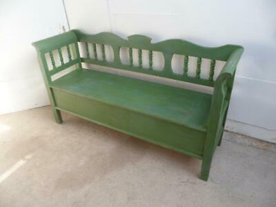 A Lovely  Antique Old/Pine Shabby Chic Green/Blue Box/Settle/Bench