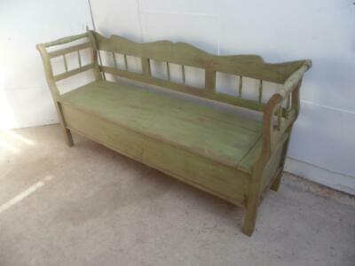 A Lovely Victorian Antique Old/Pine Light Green/Red Box/Settle/Bench