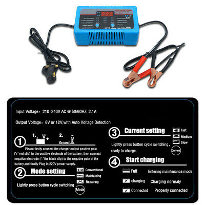 Heavy Duty 12A 8A 2A 12V 6V Smart Battery Charger Car Vehicle Van 4-200Ah Maso