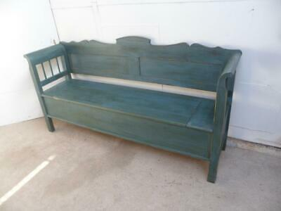A Lovely Panelled Antique Old/Pine Blue/Green Box/Settle/Bench