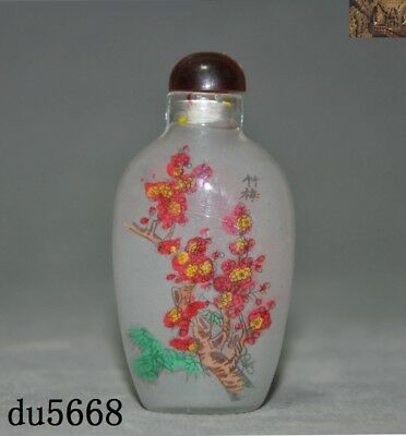 """3"""" Old Chinese palace dynasty glass internal Painted flower Snuff bottle statue"""