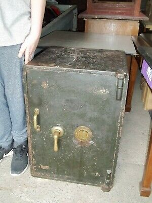 Antique Vintage Very Heavy Wrought Iron Safe, Strong Box With Key