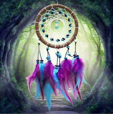 Ornament Dream Catcher Handmade Feathers Wall Car Hanging Decor Turquoise Beads