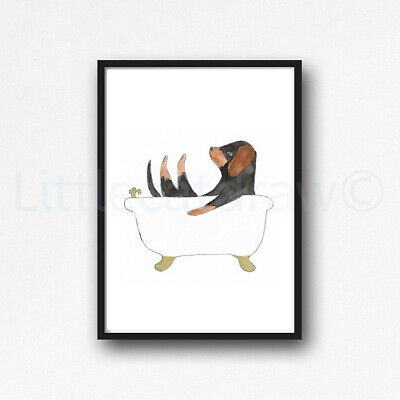 Dachshund In The Bath Tub Watercolour Painting PRINT 8x10 Wall Art