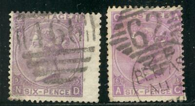 """ENG_9 - ENGLAND. Pair of 6 pence 1862 """"QUEEN VICTORIA"""" stamps. Used."""