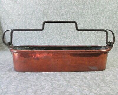 ANTIQUE FRENCH HAND HAMMERED DOVETAIL COPPER FISH POACHER COOK PAN PLANTER 2.3kg