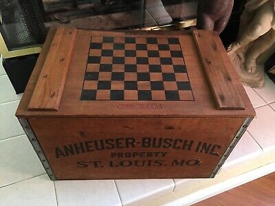Vintage Anheuser Busch Budweiser Wooden Beer Crate With Checker Board Man Cave