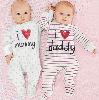 I Love Mummy & Daddy Newborn Baby Boys Girls Cute Babygrows Sleepsuit Rompers