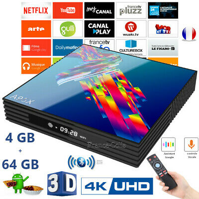 Box-TV Smart Android 9.0 4K 3D 4GB 64GB double Wifi Google Play Netflix Youtube