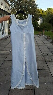 Sumptuous Regency overdress, pale blue silk with white contrast ribbon trim.