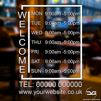 Welcome Opening Hours Times Window Sign Sticker Coffee Shop Barber Shop Hotel