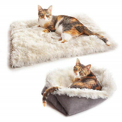 Pet Mat Small Large Paw Print Cat Dog Puppy Fleece Soft Warm Blanket Bed Cushion