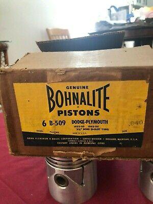 6 NOS Bohnalite pistons B-509 Dodge-Plymouth 1932 to 50