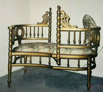 Antique French Tete-a-Tete Kissing Bench Conversation Seat 1800's