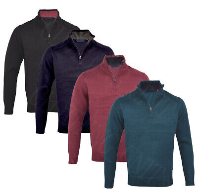 Mens Quality 1/4 Zip Collared Jumper Knitted Winter Top M-XXL