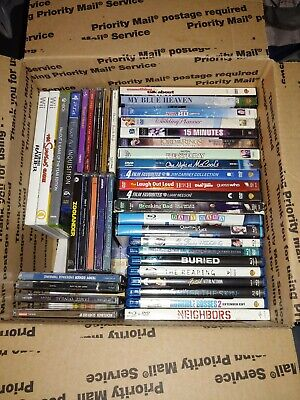 Lot of 52 Used ASSORTED DVD/Bluray/Cd's/Games BOX