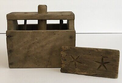 Primitive Wood Butter Press Mold Double Star Design Antique Wooden Carved