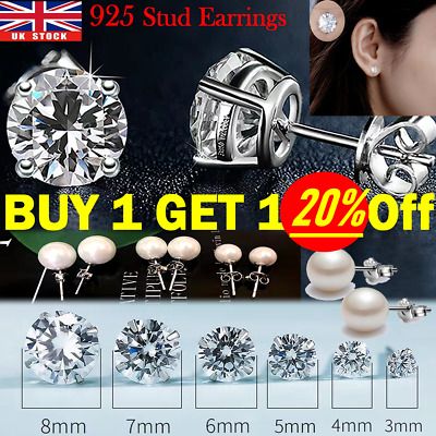 Solid 925 Sterling Silver Stud Pearl Earrings Cubic Zircon Crystal Stud Earrings