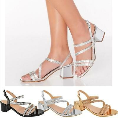 Womens Ladies Low Block Heel Party Wedding Sandals Diamante Prom Shoes Strappy