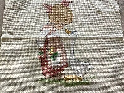 Precious Moments Completed Cross Stitch Picture Too Cute