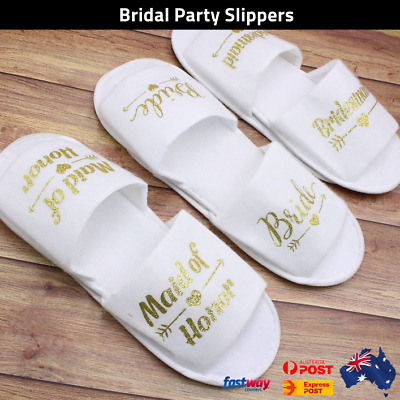 Bridal Slippers Gold on White Bride To Be Bridesmaid Maid of Honor Wedding AUS