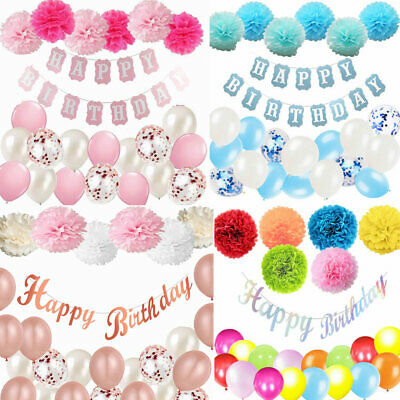 Happy Birthday Bunting Banner Balloons Pompoms 18/21/30/40/50/60th Party Decor