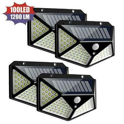 100LED Solar Power PIR Motion Sensor Wall Light Outdoor Garden Lamps Waterproof#