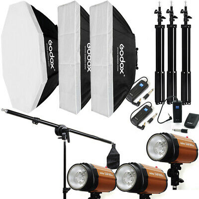 3Pcs Godox 300SDI 300W Studio Flash Strobe Light + Softbox + Stand + Trigger Kit
