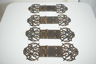 Vintage Decorative Ornate Brass hinges, 4 pieces -cupboard, box, door etc