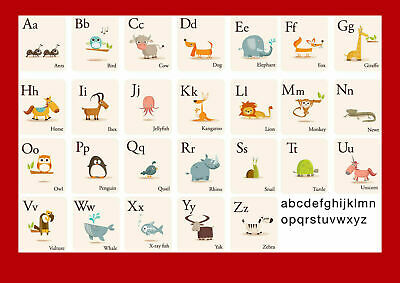 Education - Alphabet Animals Kids Learning English Teaching Poster A5 A4 A3 A2