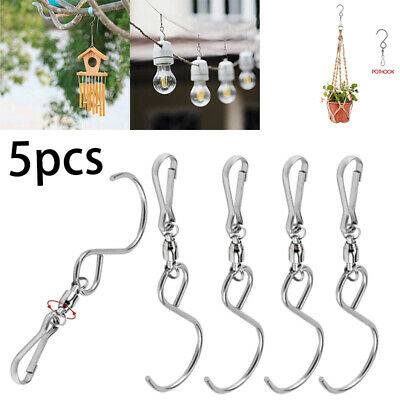 60x Spinning Swivel Clip Hanging S Hooks Wind Spinner Rotate Spiral Hangers