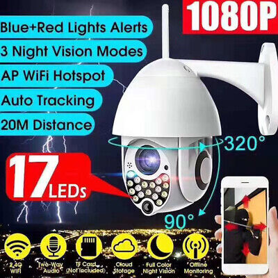 WIFI IP Camera 1080P HD WHITE Wireless Outdoor CCTV Home Security IR Cam 2MP