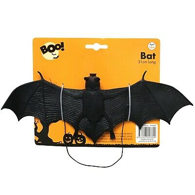 Halloween Hanging 31cm Fake Bat Trick Treat Party Decoration Scary Prop Black