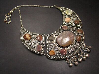 N07 Ethnic GYPSY Banjara Silver tone Tribal River agate stones Necklace Indian