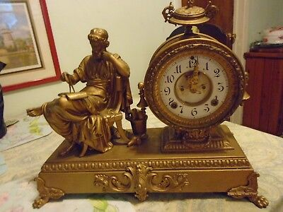 1882 Antique Ansonia Aristotle Mantle Clock - **AS IS**