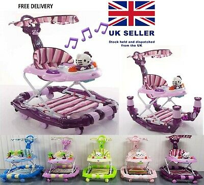 2 in 1 Baby Walker & Rocker with Parental handle,Shade,Music,Foot brakes & Toys