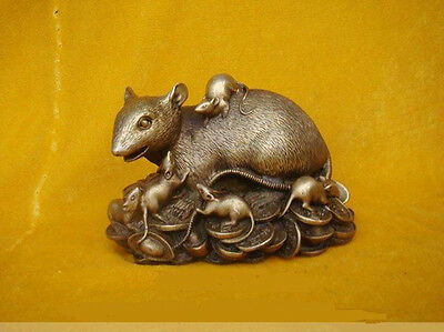 "Chinese Bronze Statue Figurine Rat Mouse 4.8""Wide"