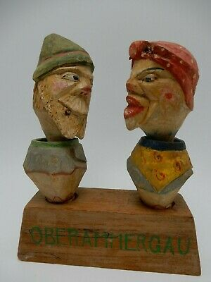 Oberammergau Germany Hand Carved Hand Painted Wood Wobble Head Man Woman