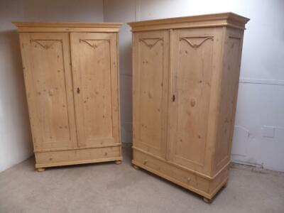 A Lovely Pair of Victorian Antique/Old Pine Knockdown Wardrobes to Wax/Paint