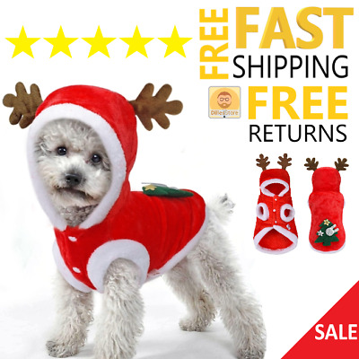 Small Dog Christmas Costume Winter Deer Xmas Pets Funny Clothes for Holiday NEW